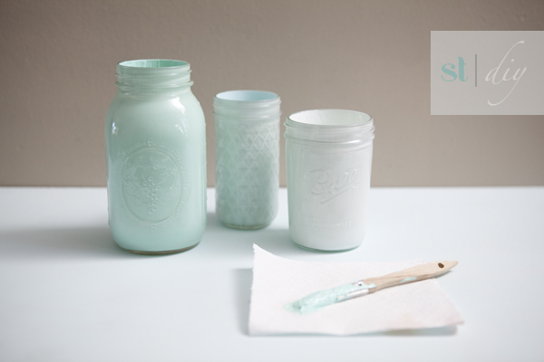 Something Turquoise DIY: hand painted glass jars