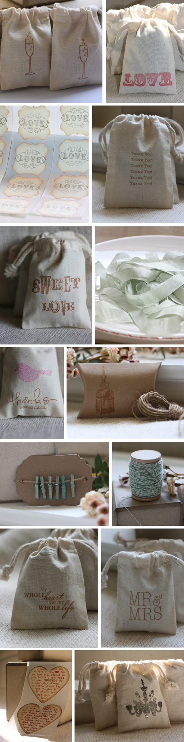 hand stamped muslin wedding favor bags
