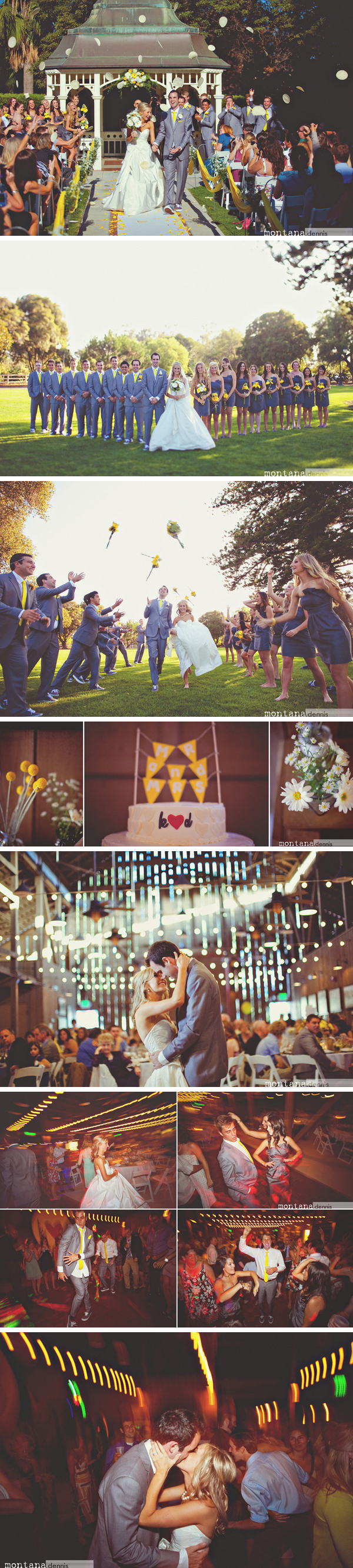 grey and yellow wedding reception