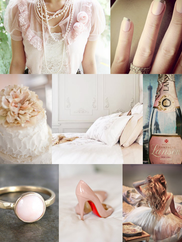 pale pink wedding inspiration board