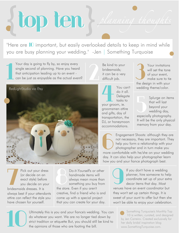 Top Ten Wedding Planning Thoughts