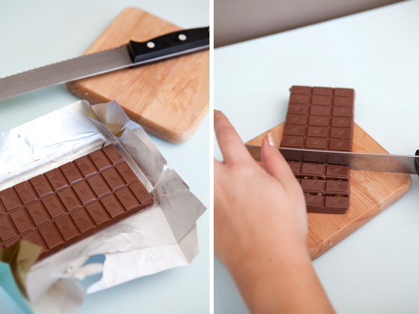 cutting chocolate bars