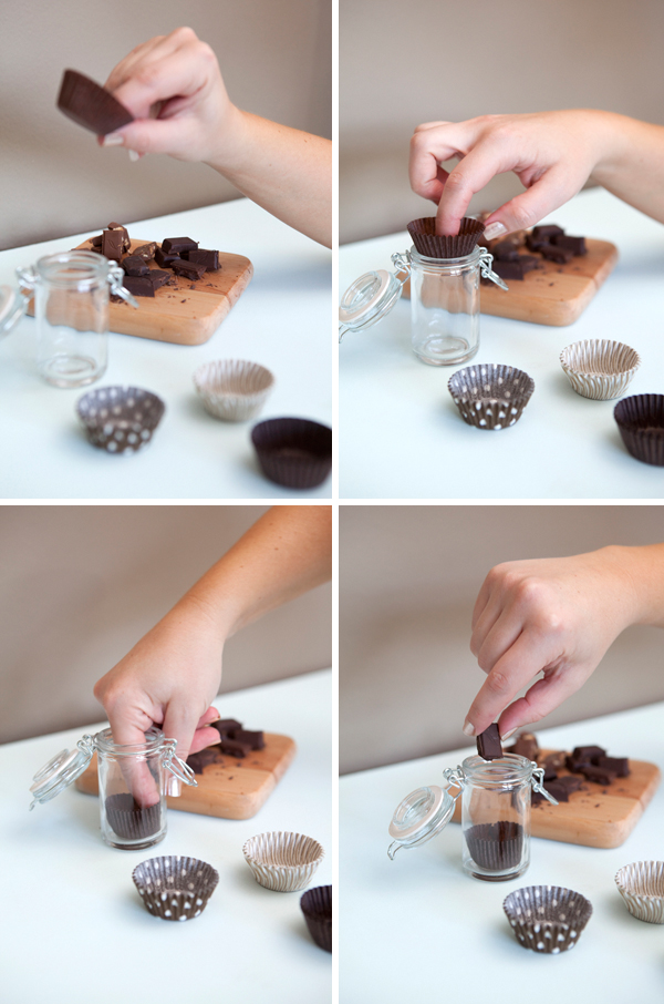 filling chocolate tasting jar favors