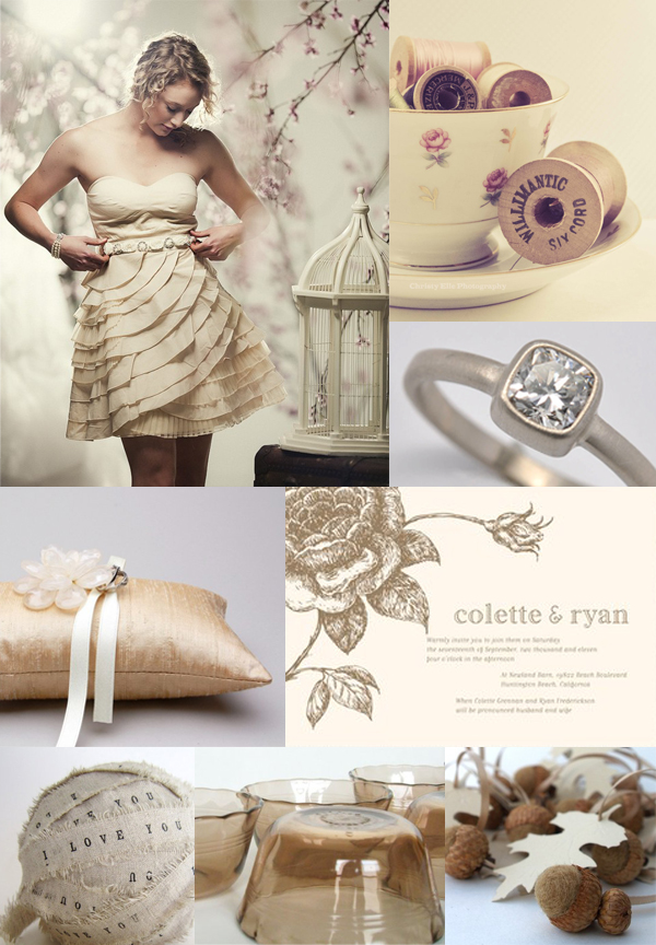 cream wedding inspiration board