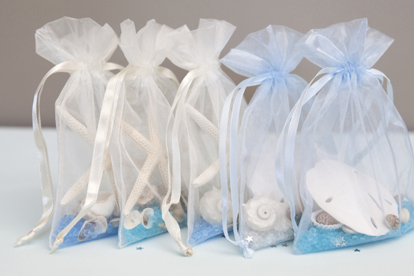 sea shell sachet bridal shower favor