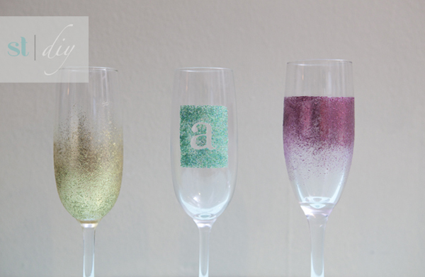 Martha Stewart Glitter Paint Champagne Glasses