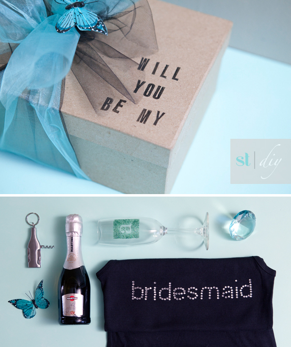 Wedding Gift Boxes For Bridesmaids : SomethingTurquoise.com DIY Will You Be My Bridesmaid?