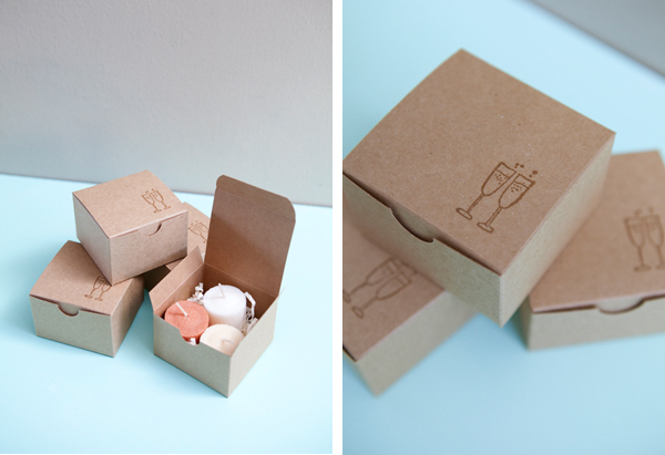 SomethingTurquoise.com DIY ombre candle trio wedding favor box