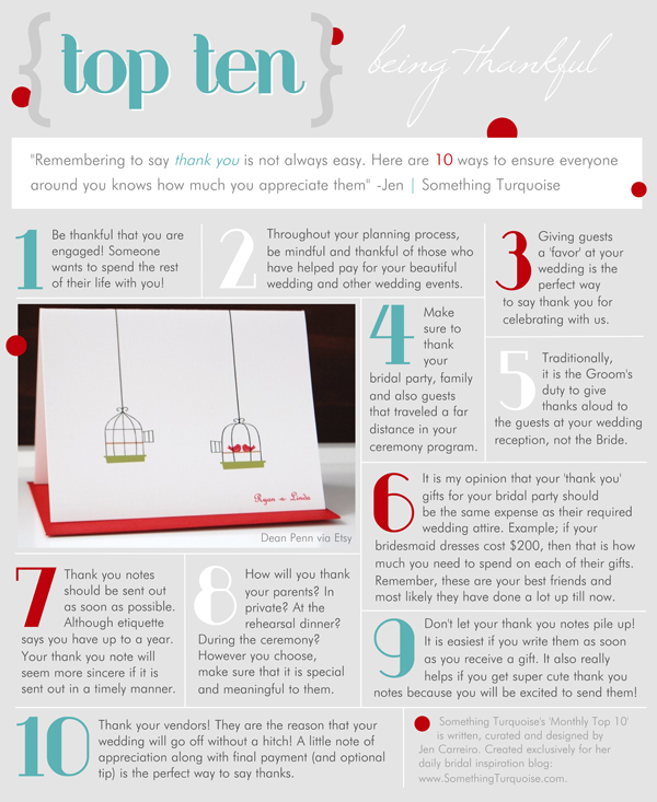 Top 10 list - being a thankful bride! Something Turquoise.com