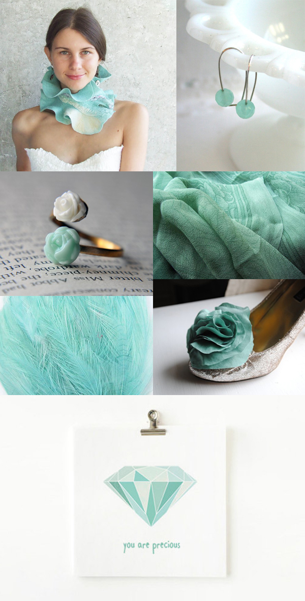 winter white and sea foam green wedding inspiration