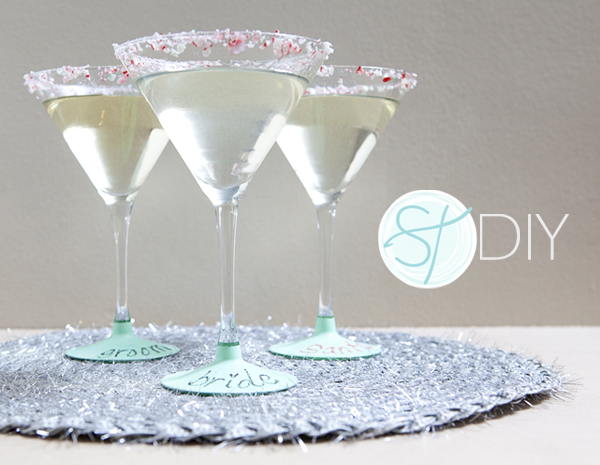 DIY - Chalkboard Paint on the base of Martini Glasses - SomethingTurquoise.com