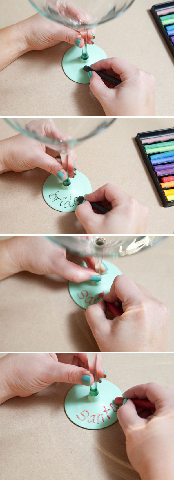 DIY chalkboard martini glasses! Write your name and take a sip! www.SomethingTurquoise.com