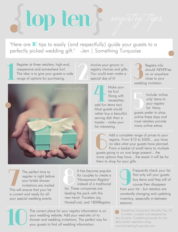 Great Wedding Gifts Not On The Registry : Click on the article to print a pdf. version of this Top 10 List.