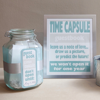 how to make a diy time capsule guest book. Black Bedroom Furniture Sets. Home Design Ideas