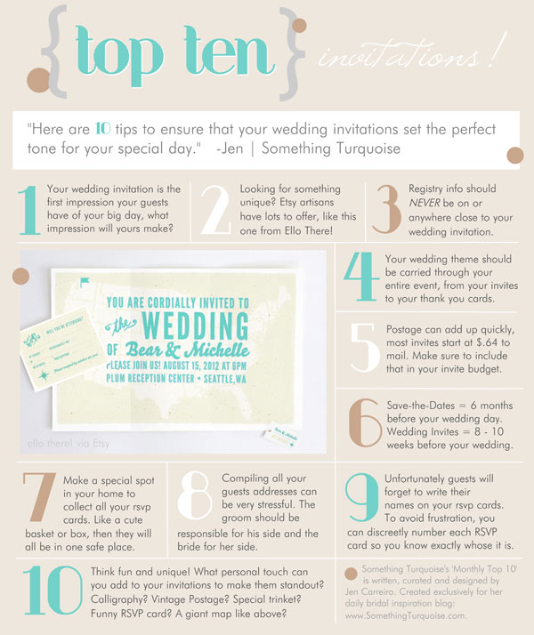Something Turquoise Top 10 List for Wedding Invitations