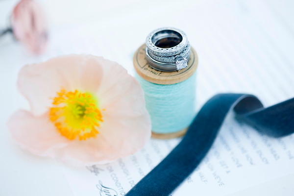 Something Turquoise, turquoise spool of thread with wedding rings