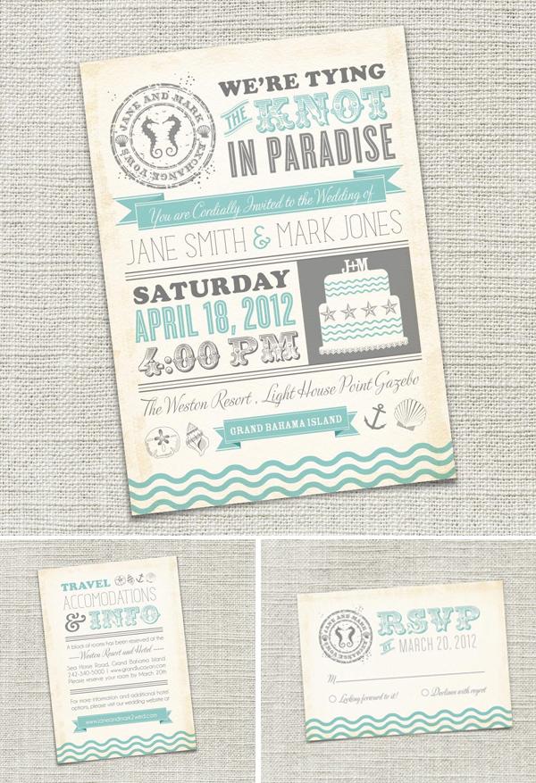 etsy | unique wedding invitations - Something Turquoise