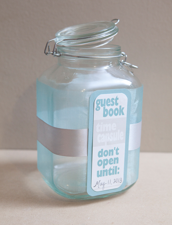 Alternative 10th Wedding Anniversary Gifts : DIY Time Capsule Guest Book for Weddings via Something Turquoise