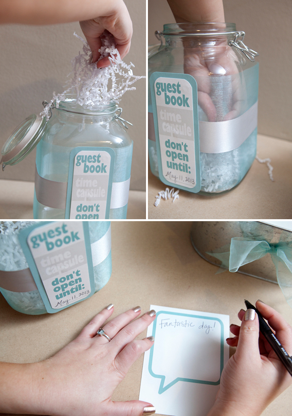 DIY Time Capsule Guest Book for Weddings via Something Turquoise