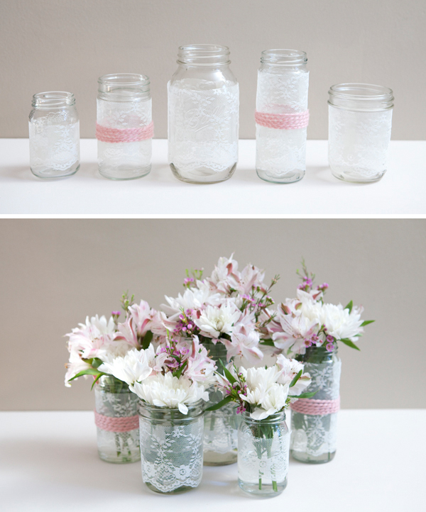 DIY Lace Covered Mason Jars via Something Turquoise