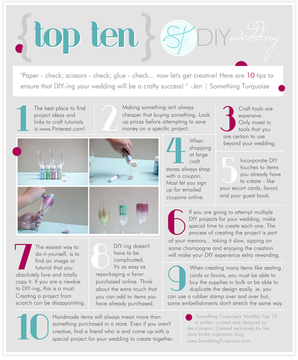 Top Ten tips on DIY-ing your wedding