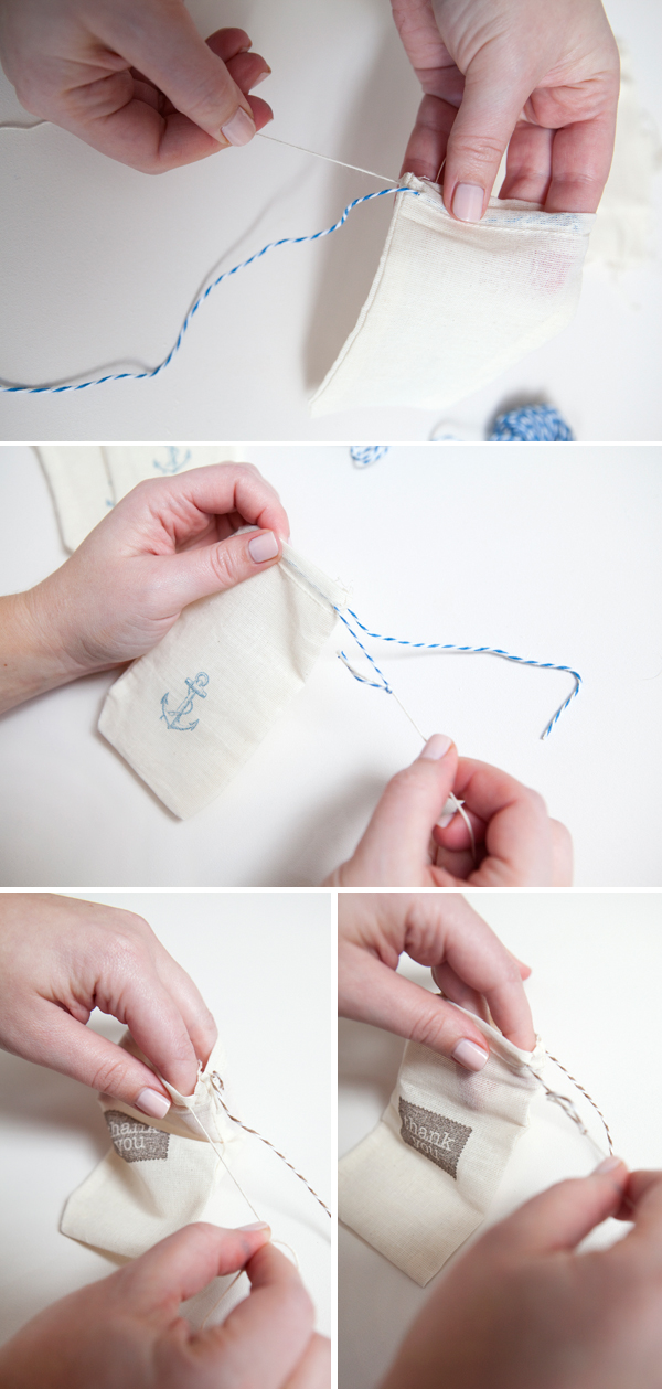 hand-stamped muslin favor bags diy tutorial