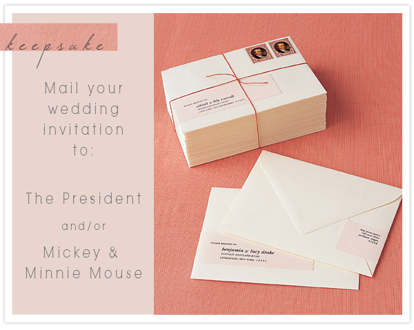 Keepsake Mailing Your Wedding Invitations To The President And