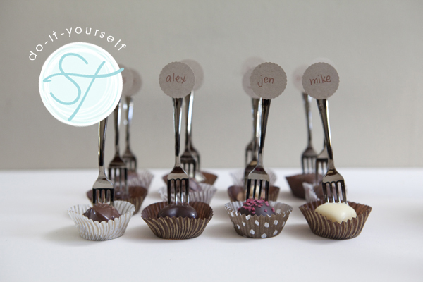 So here it is minifork truffle seating cards place on each plate for your