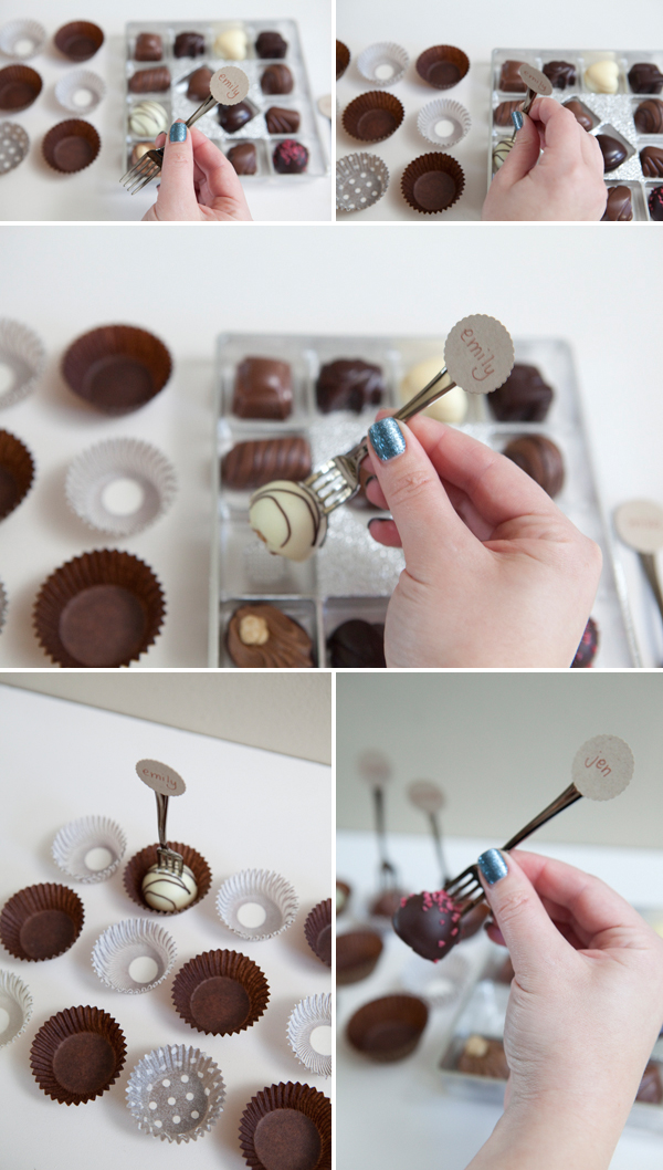 diy mini fork truffle seating cards