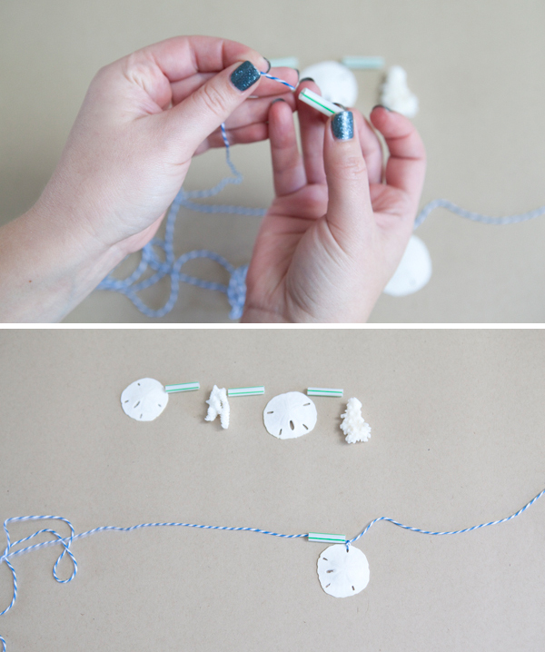 DIY seashell bunting cake topper