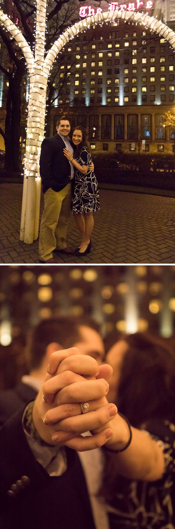 proposal in front of the Drake Hotel