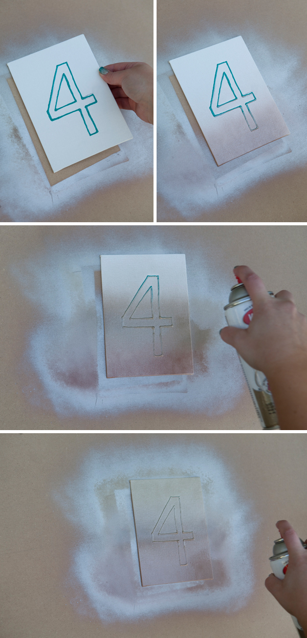 DIY ombre table numbers