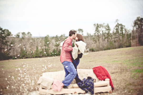 feather pillow fight engagement
