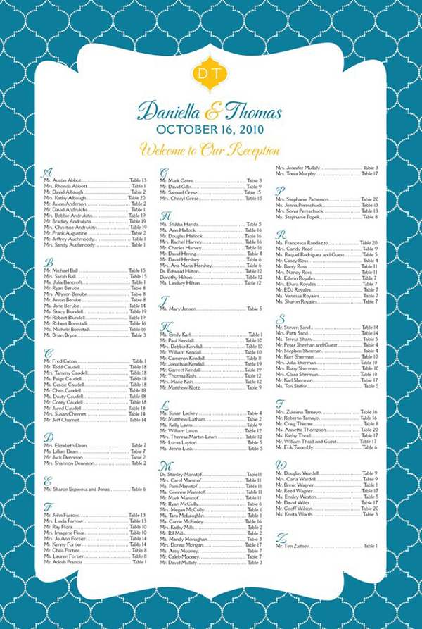 Round Up Seating Chart Posters Something Turquoise