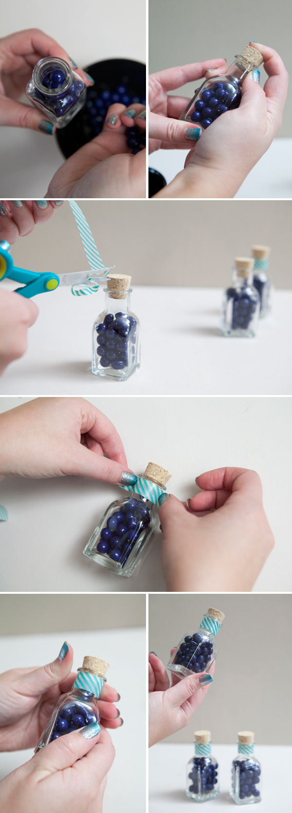DIY candy jar favors with washi tape