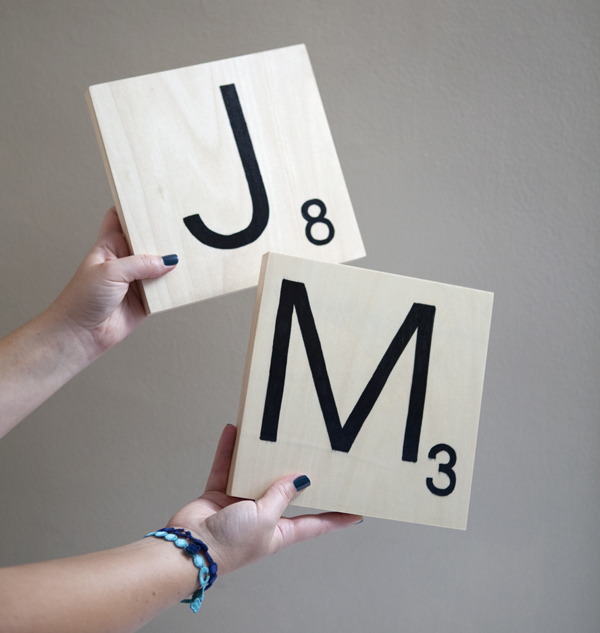 How to make giant scrabble tile table numbers for Large letter scrabble game