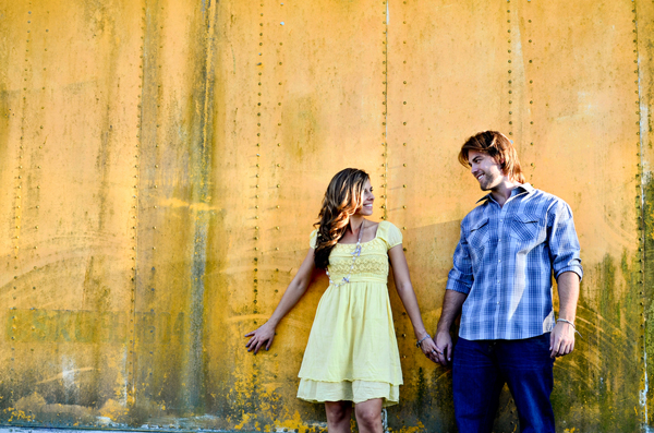 rustic junk yard engagement shoot