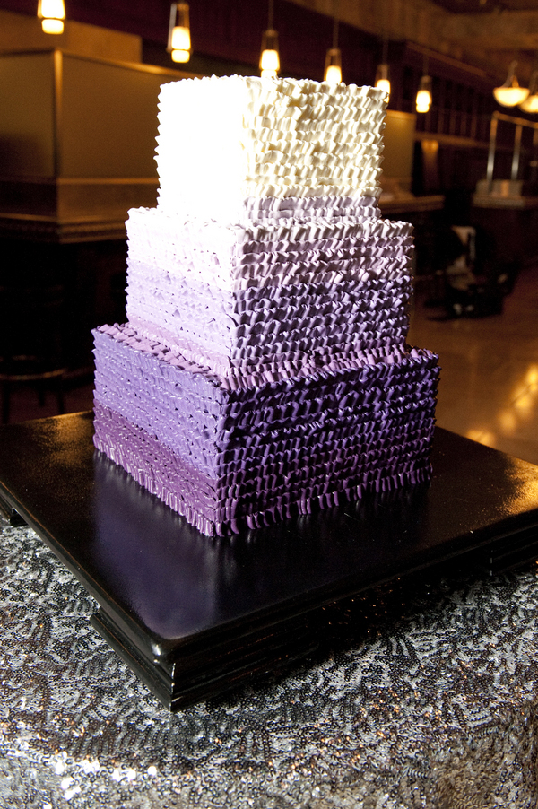 purple ombre ruffled wedding cake