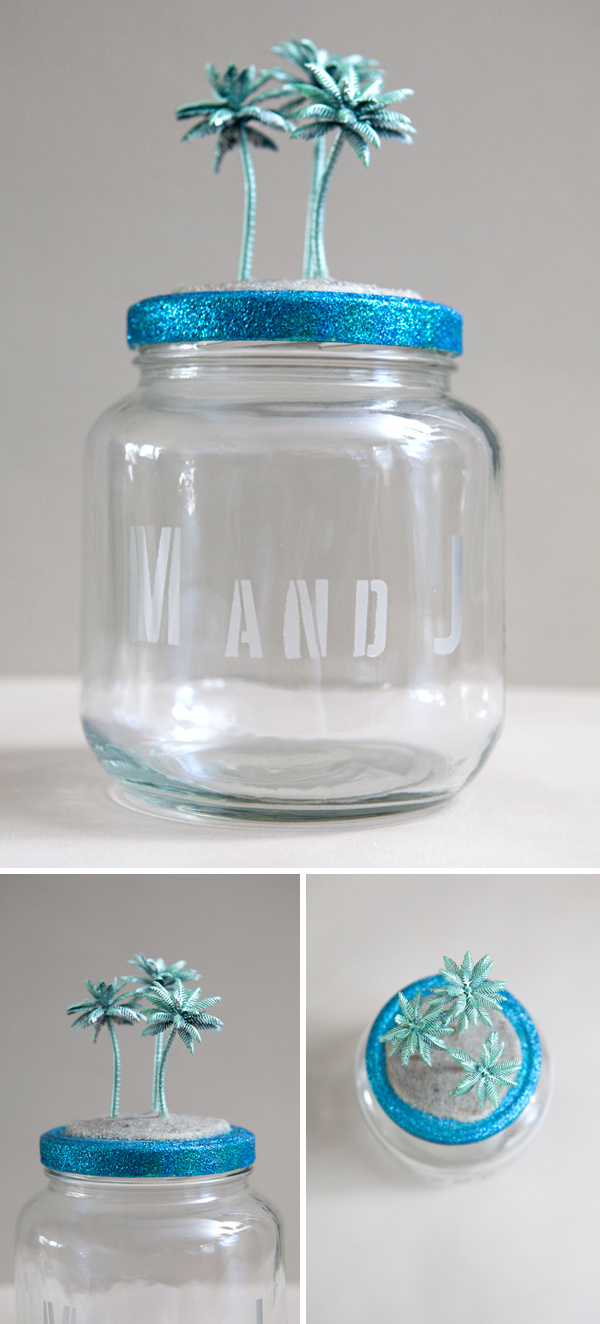 Diy honeymoon fund savings jar something turquoise for Cool money jars