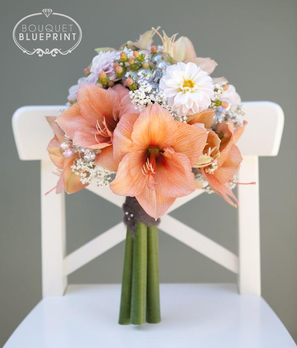 Bouquet blueprint winter peach wool for Amaryllis en bouquet