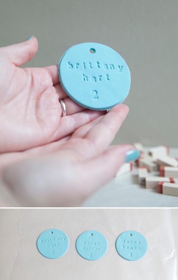 DIY stamped clay escort ornaments