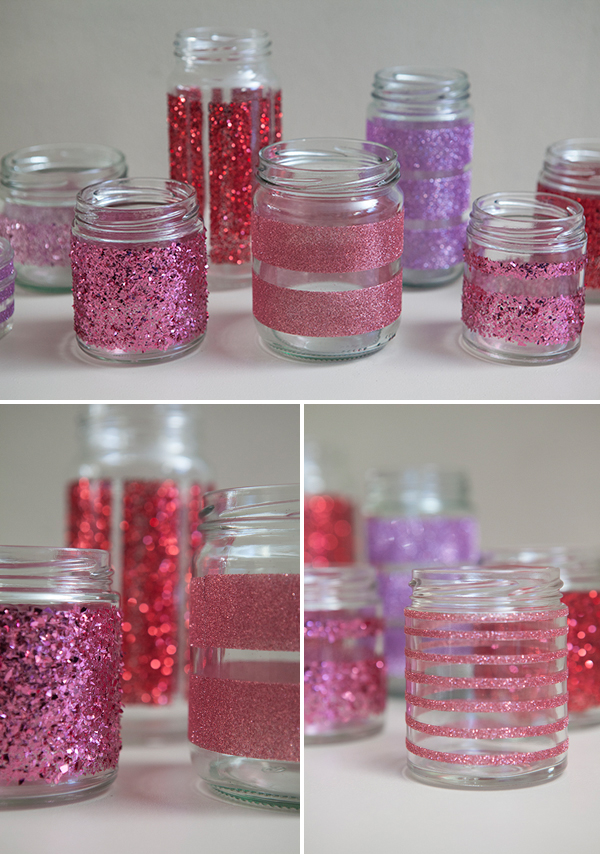 How to make diy glittered glass jars perfect candle holders for How to make glass candle holders