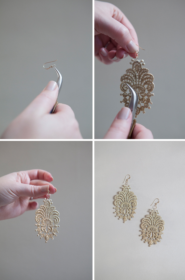 DIY stiffened lace applique earrings