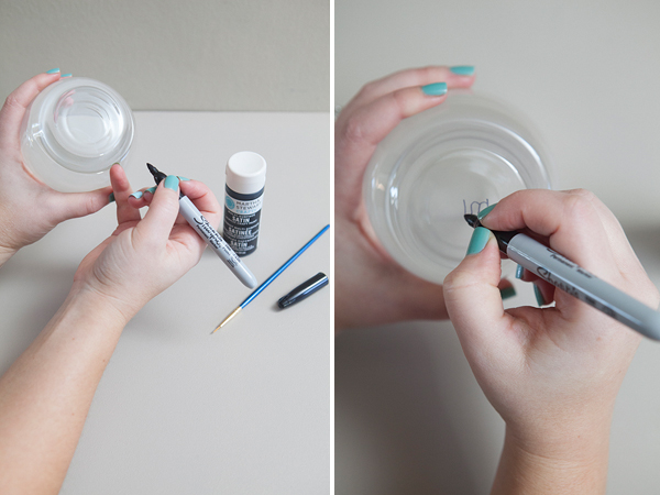 Diy painted stemless wine glasses something turquoise for What paint do you use to paint wine glasses
