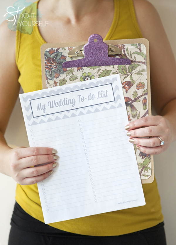 Make yourself a darling wedding to do list clipboard!