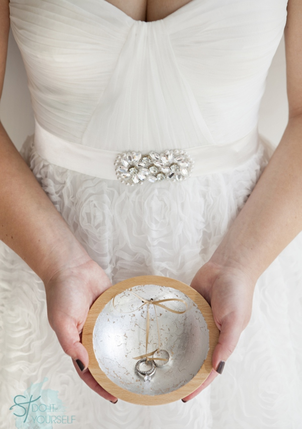 How to make a gold leaf ring bearer dish from something for Diy ring bearer