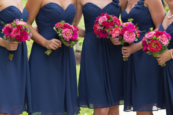 beautiful pink and navy blue wedding at an arboretum