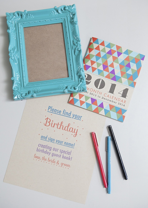 somethingturquoise_diy_wedding_birthday_calendar_guest_book_0002jpg birthday calendar guestbook design