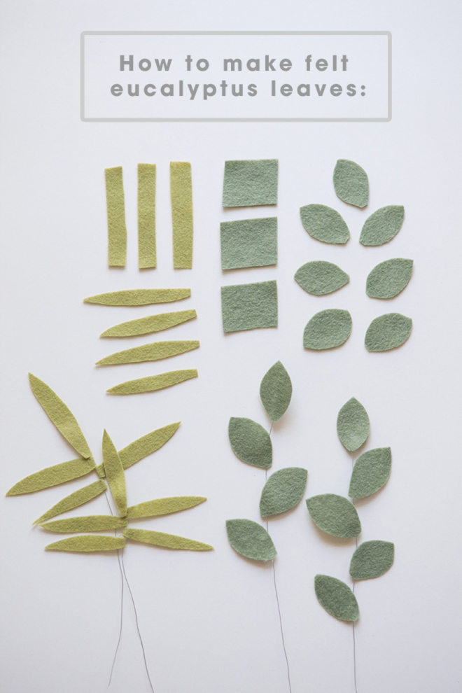 How to make felt eucalyptus leaves