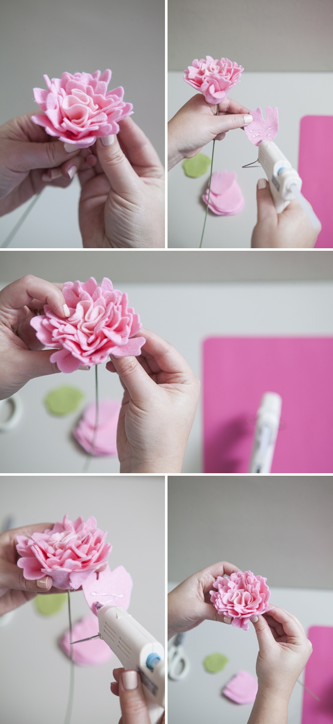 how to make a felt peony flower